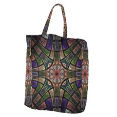Fractal Detail Elements Pattern Giant Grocery Zipper Tote