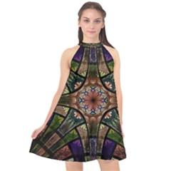 Fractal Detail Elements Pattern Halter Neckline Chiffon Dress
