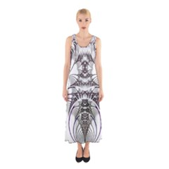Fractal Delicate Intricate Sleeveless Maxi Dress
