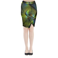 Fractal Abstract Design Fractal Art Midi Wrap Pencil Skirt