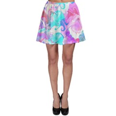 Background Art Abstract Watercolor Skater Skirt