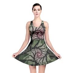 Fractal Flowers Floral Fractal Art Reversible Skater Dress