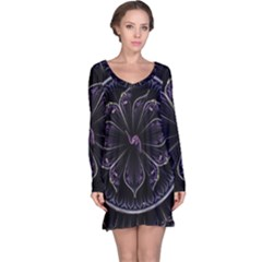 Fractal Abstract Purple Majesty Long Sleeve Nightdress