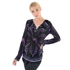 Fractal Abstract Purple Majesty Tie Up Tee