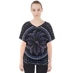 Fractal Abstract Purple Majesty V Neck Dolman Drape Top