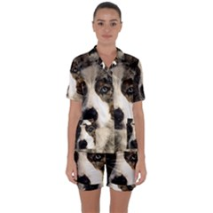 Dog Pet Art Abstract Vintage Satin Short Sleeve Pyjamas Set