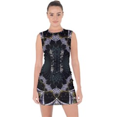 Fractal Aqua Silver Pattern Lace Up Front Bodycon Dress