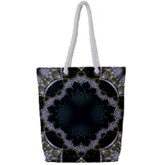 Fractal Aqua Silver Pattern Full Print Rope Handle Tote (small)