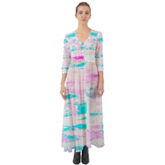 Background Art Abstract Watercolor Button Up Boho Maxi Dress