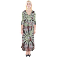 Fractal Floral Fantasy Flower Quarter Sleeve Wrap Maxi Dress