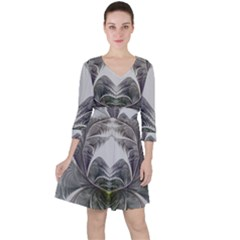 Fractal White Design Pattern Ruffle Dress