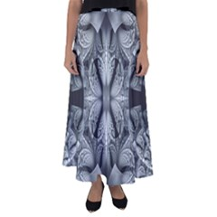 Fractal Blue Lace Texture Pattern Flared Maxi Skirt