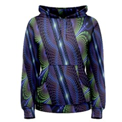 Fractal Blue Lines Colorful Women s Pullover Hoodie