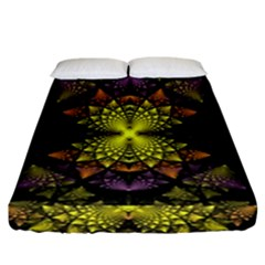 Fractal Multi Color Geometry Fitted Sheet (california King Size)