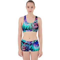Background Art Abstract Watercolor Work It Out Sports Bra Set