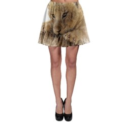 Lion Cub Close Cute Eyes Lookout Skater Skirt
