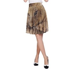 Lion Cub Close Cute Eyes Lookout A Line Skirt