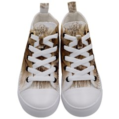 Lion Cub Close Cute Eyes Lookout Kid s Mid Top Canvas Sneakers