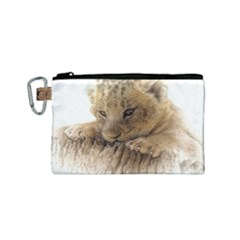 Lion Cub Close Cute Eyes Lookout Canvas Cosmetic Bag (small)