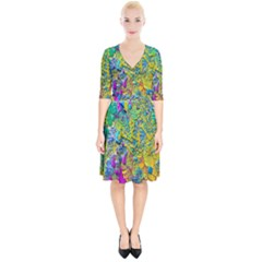 Background Art Abstract Watercolor Wrap Up Cocktail Dress