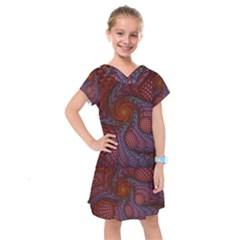 Fractal Red Fractal Art Digital Art Kids  Drop Waist Dress