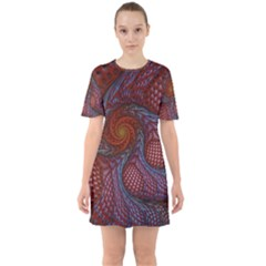 Fractal Red Fractal Art Digital Art Sixties Short Sleeve Mini Dress