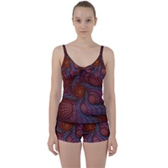Fractal Red Fractal Art Digital Art Tie Front Two Piece Tankini