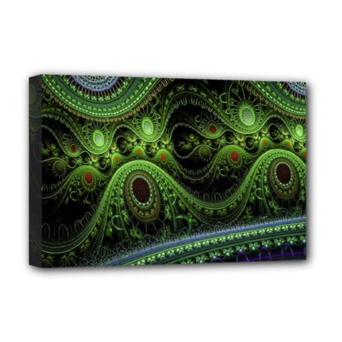 Fractal Green Gears Fantasy Deluxe Canvas 18  X 12