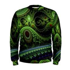 Fractal Green Gears Fantasy Men s Sweatshirt