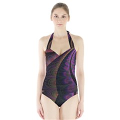Fractal Colorful Pattern Spiral Halter Swimsuit