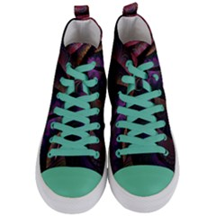 Fractal Colorful Pattern Spiral Women s Mid Top Canvas Sneakers