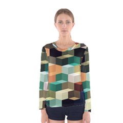 Art Design Color Pattern Creative 3d Women s Long Sleeve Tee