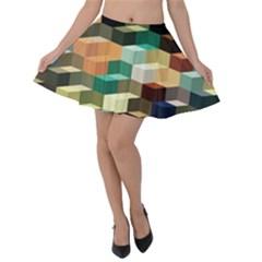 Art Design Color Pattern Creative 3d Velvet Skater Skirt