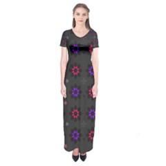Funds Texture Pattern Color Short Sleeve Maxi Dress