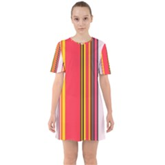 Abstract Background Pattern Textile Sixties Short Sleeve Mini Dress