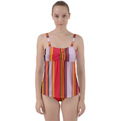 Abstract Background Pattern Textile Twist Front Tankini Set