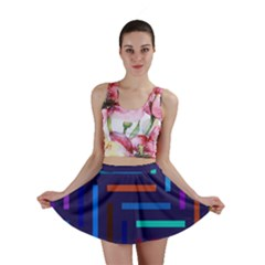Lines Line Background Abstract Mini Skirt