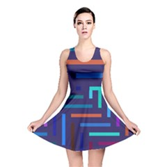 Lines Line Background Abstract Reversible Skater Dress
