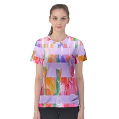 Watercolour Paint Dripping Ink Women s Sport Mesh Tee