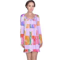Watercolour Paint Dripping Ink Long Sleeve Nightdress