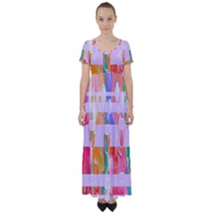 Watercolour Paint Dripping Ink High Waist Short Sleeve Maxi Dress