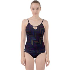 Lines Line Background Cut Out Top Tankini Set