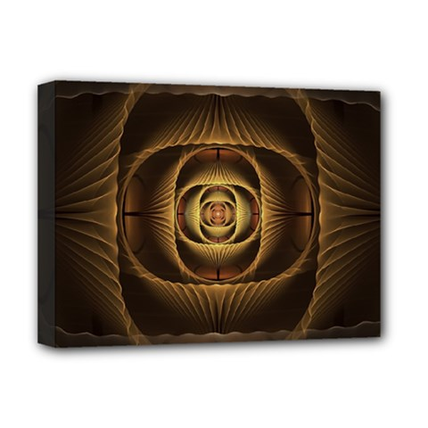 Fractal Copper Amber Abstract Deluxe Canvas 16  X 12