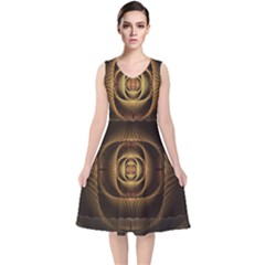 Fractal Copper Amber Abstract V Neck Midi Sleeveless Dress