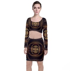 Fractal Copper Amber Abstract Long Sleeve Crop Top & Bodycon Skirt Set