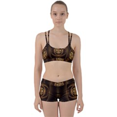 Fractal Copper Amber Abstract Women s Sports Set