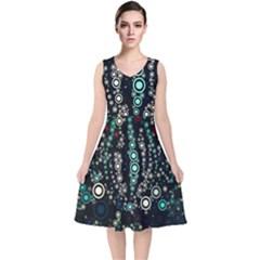 Modern Art Design Digital V Neck Midi Sleeveless Dress
