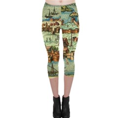 Medeival Ancient Map Fortress Capri Leggings