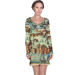 Medeival Ancient Map Fortress Long Sleeve Nightdress
