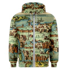 Medeival Ancient Map Fortress Men s Zipper Hoodie